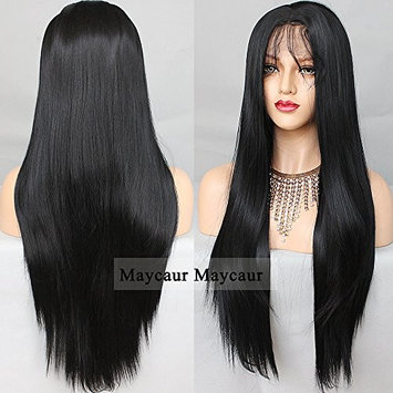 Vanessa Queen Middle Part Straight Hair Wig Long Straight Synthetic Lace Front Wig For Women 28Inch