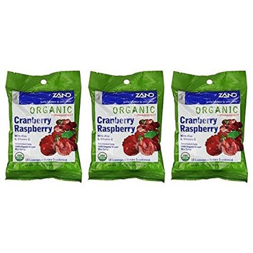 Zand HerbaLozenge Organic Cranberry Raspberry (Pack of 3) With Eucalyptus, Peppermint, Thyme, Zinc and Stevia, 18 count.
