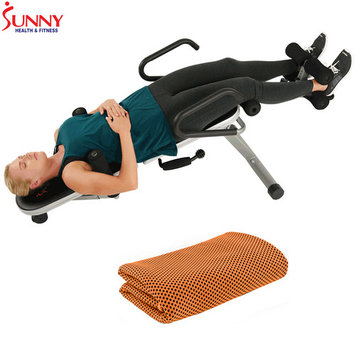 Sunny Health and Fitness Invert Extend N Go Back Stretcher Bench with Workout Cooling Towel