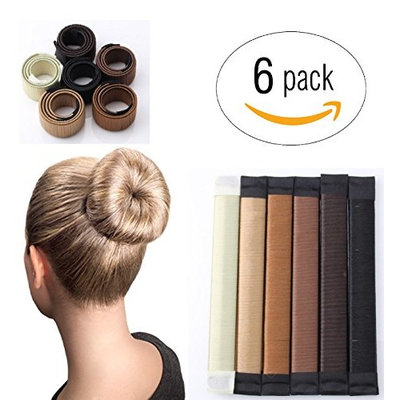 LittleCreationsByVic Magic French Twist Hair Bun Maker Hair Bun Shapers Donut Hair Styling Making DIY Curler Roller Hairstyle Tools, French Twist Doughnuts Hair Accessories - 6 Pack