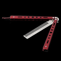 1 Set Red Combs Hairbrush Practice Comb Folding Stainless Steel Salon Style Tool Combo Pocket Long Round Handle Holder Stylish Popular Beard Hair Brush Natural Grooming Girl Travel Kit