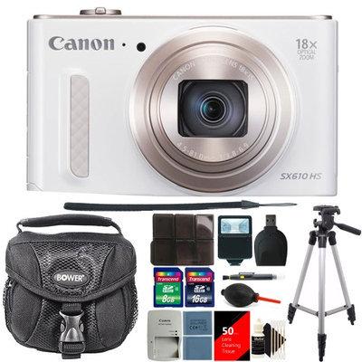 Canon PowerShot SX610 HS 20.2MP Digital Camera White + 24GB Deluxe Accessory Kit