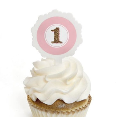 1st Birthday Girl - Fun to be One - Cupcake Picks with Stickers - Birthday Party Cupcake Toppers - 12 Count