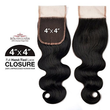 Beautiful Hair Unprocessed Brazilian Human Hair Weave Hand-Tied 4X4 Lace Parting Closure Body (NATURAL) (10