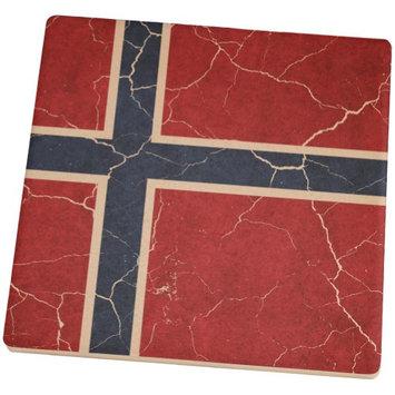 Old Glory Distressed Norwegian Flag Square Sandstone Coaster