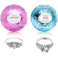 Ocean Breeze Lavender Bath Bombs Gift Set of 2 with Size 8 Ring Surprise Inside Each Made in USA