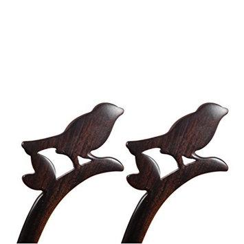 FANTAC CRAFTS 2 Pieces Bird Hairpins Handmade Carved Hairpin Ebony Black Wood Animals Shaped Hair Accessories Creative Hair Stick Bun Updo Pin