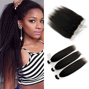 Unprocessd 8A Brazilian Virgin Human Hair 3 Bundles With Lace Frontal Closure(13 x 4) Kinky Straight Human Hair Weft 100% Real Human Hair Extensions Natural Color (20 20 20+ 18)