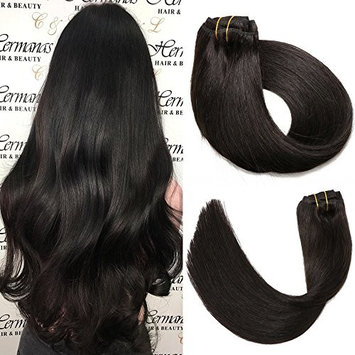 SeaShine Clip in Hair Extensions Double Weft #1B Natural Black 100% Brazilian Remy Human Hair Extensions Soft Silky Straight for Fashion Women 7pcs 16clips(18Inch #1B 70g)