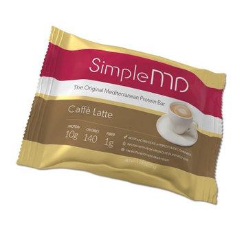 SimpleMD Original Mediterranean Protein Bar, Caffe Latte, 1.23 Oz (Pack of 12)