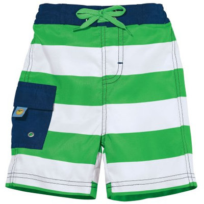 One Step Ahead Sun Smarties Baby Boy Swim Diaper - Green and White Stripe - Swim Diaper Trunks