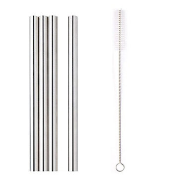 HP95 Set of 4 Stainless Steel Metal Straws & Free Brush,Long Drinking Metal Straws Reusable Straight Drinking Straws for 20 Oz/30 Oz Cups