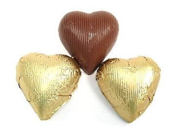 Madelaine Chocolate Company Gold Foiled Chocolate Hearts, 5LBS
