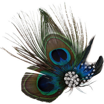 Peacock Feather Hair Clip/Fascinator with Rhinestones, Nature