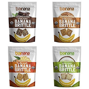 Barnana Banana Brittle, Variety Pack, 3.5 OZ, 4 Count - Organic dessert cookie style snack with potassium, vitamin C, and other clean ingredients. Gluten free