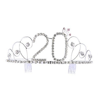 Frcolor No.20 Crystal Birthday Crown Girl Tiara Princess Crown Hair Accessories Happy 30th Birthday