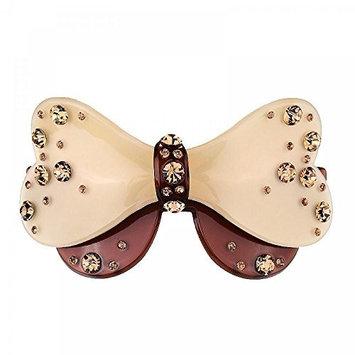 GSM Accessories Womens Korean Acrylic Rhinestone Medium Butterfly Bow Hair Clips Barrettes HC2066-Coffee
