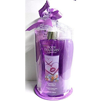 Body Fantasies Kissing In The Rain 3 - Piece Luxury Gift Bag - Body Spray, Body Wash, Body Lotion