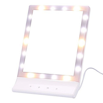 LED Light Touch Screen Makeup Mirror Lighted Vanity Cosmetic Mirror Portable Travel Mirror 90 Degree Free Rotation Tabletop Mirror For Bedroom Bathroom Toilet Dresser