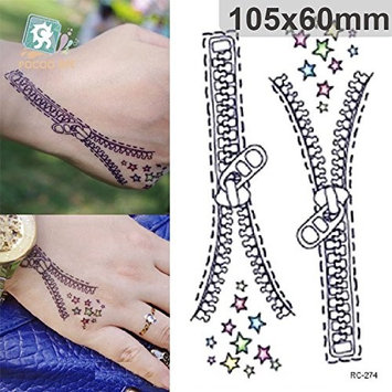 Body Art Temporary Removable Tattoo Stickers Zipper Sticker Tattoo - FashionDancing