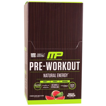 MusclePharm Natural, Pre-Workout, Natural Energy, Fresh Cut Watermelon, 12 Packets, 4.91 oz (139.2 g)