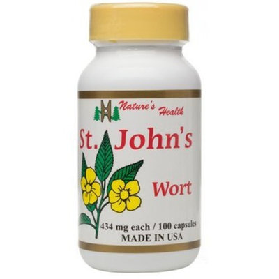 St. John's Wort, Mood Stability Support, Mentally Relax, 100% All-Natural, Hypericum, 434 Mg, 100 Capsules, Nature's Health