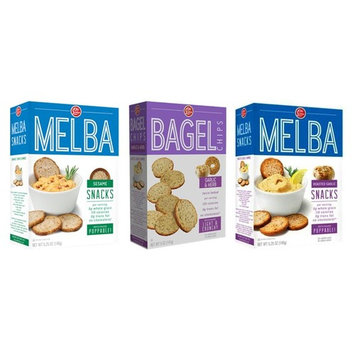 London Melba Crackers and Bagel Chips 3 Flavor Variety Bundle: (1) Garlic & Herb Bagel Chips, (1) Sesame Melba Rounds, and (1) Roasted Garlic Crackers, 5-5.25 Oz. Ea. (3 Boxes)
