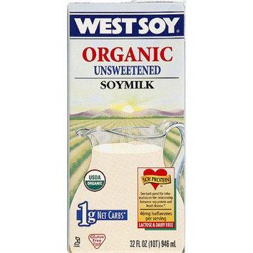 WESTSOY Organic Unsweetened Soymilk, 32 fl oz, (Pack of 12)