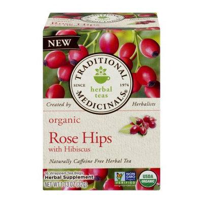 Organic Rose Hips Tea with Hibiscus, 16 Tea Bags, Traditional Medicinals Teas