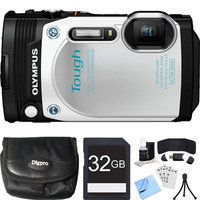 Olympus TG-870 Tough Waterproof 16MP White Digital Camera 32GB SDHC Memory Card Bundle