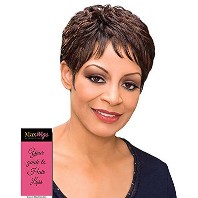 Etta Wig Color 3T44 - Foxy Silver Wigs Short Cropped Pixie Soft Waves Synthetic African American Wispy Bangs Women's Machine Wefted Lightweight Average Cap Bundle with MaxWigs Hairloss Booklet