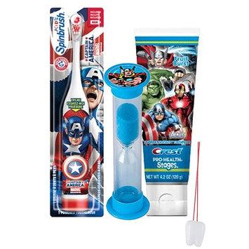 Avengers Inspired 3pc Bright Smile Oral Hygiene Set! Turbo Powered Spin Toothpaste & Brushing Timer! Plus Bonus