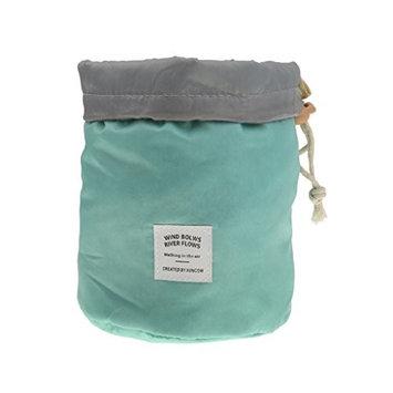 MagiDeal Large Capacity Round Make-up Organizer Toilet Bag With Drawstring - Light Blue