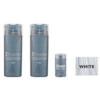 XFusion Keratin Hair Fibers,Two Pack Value 2 x 28 gr/0.98 oz WHITE/FREE Refillable 3 gr Travel Size Fibers ($8.00 Value) …