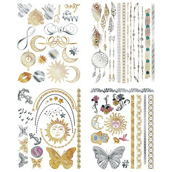 Flash Metallic Temporary Tattoos For Women - 150+ Boho Tattoos & Mandala Tattoos with Gold & Silver Shimmer - 8 Large Sheets of Bachelorette Tattoos Include Waterproof Arm Bands - For Adults or Kids