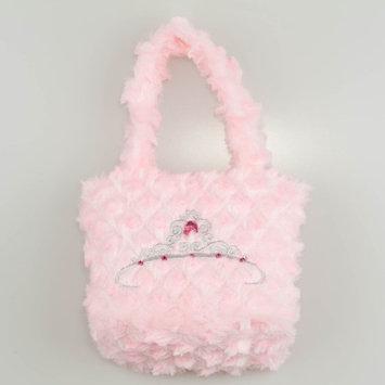 1PerfectChoice Girls Pink Fuzzy Velvet Embroider Tiara Purse