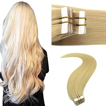 Googoo Tape in Blonde Hair Extensions Human Hair 613 Color Remy Tape Hair Seamless Straight 20 Pieces Per Package