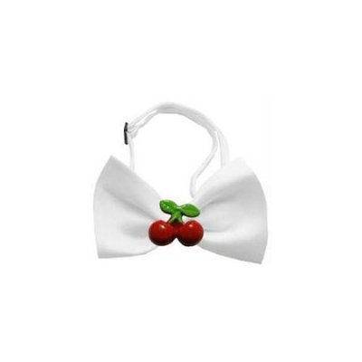 Ahi Red Cherry Chipper White Bow Tie
