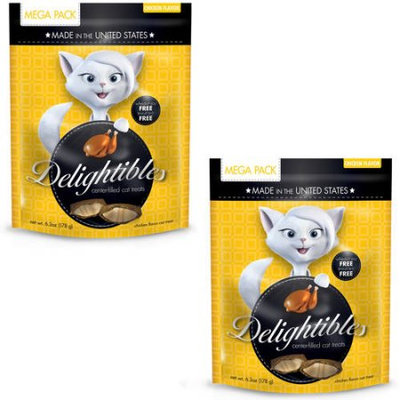 Delightables Delightibles Cat Treats Chicken Cat Treats, 6.3 oz (Pack of 2)