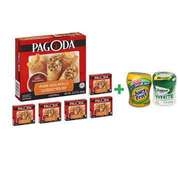Pagoda Express Cafe Egg Rolls Pork Vegetable - 11 Oz( 6 PACK ) + Fruity Chews Gum Watermelon 1/60 Count + Trident Go Cup Spearmint 1/60 Count