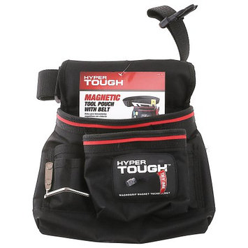 Hyper Tough Magnetic Tool Pouch with Belt, Black and Red