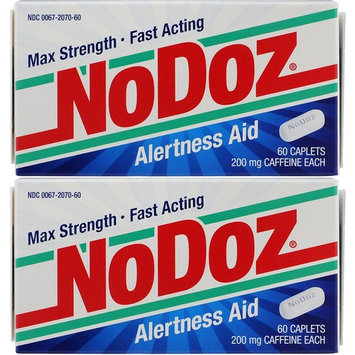 NoDoz Maximum Strength Alertness Aid 60 Caplets (Pack of 2), 200mg Caffeine Pills