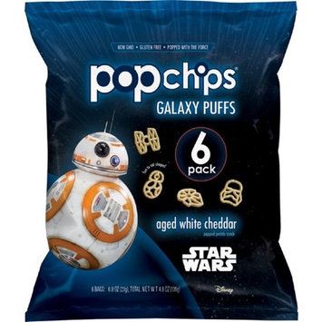 Popchips Potato Chips, Star Wars Shapes, Aged White Cheddar, 6 Count Single Serve Bags (0.8 oz), Gluten Free Star Wars Themed Potato Chips