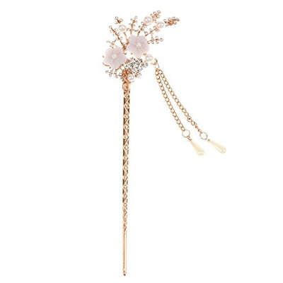MagiDeal Women's Crystal Rhinetone Bead Hair Clasp Flowers Design Hair Stick With Tassel #10