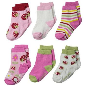 Lovespun Baby-Girls Newborn Fruit Print 6 Pack Sock Set