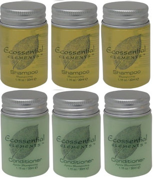 Ecossential Elements Conditioner and Shampoo Lot of 6 (3 of each) 1.1oz Bottles
