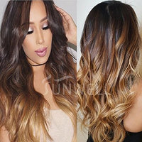 Full Lace Human Hair Wigs with Baby Hair for Black Women, Sunwell Brazilian Human Hair Full Lace Wig Body Wave #1B/4/27 Ombre Color 3 Tone 130% Density 14inch