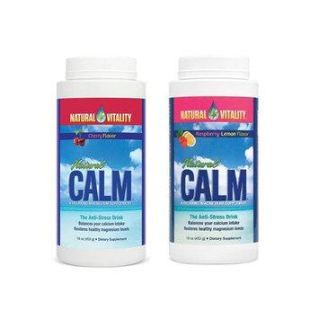 Natural Vitality Natural Calm Magnesium, Powder, Combo, Raspberry Lemon and Cherry Bottles of 16 Oz. [Raspbery Lemon-Cherry-Combo]