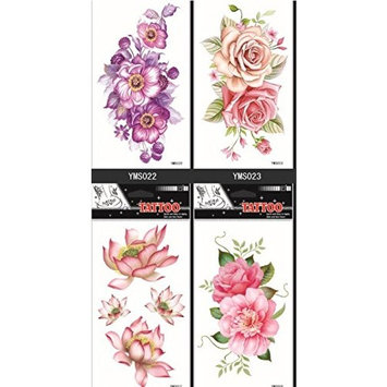 Grashine long last and look like real temporary tattoos 4pcs temp tattoo stickers in one package Colorful flowers temp tattoo stickers, it including peony,lotus,roses,etc.