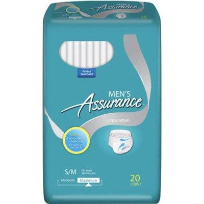 Assurance Incontinence Underwear for Men, Maximum, S/M, 20 Ct